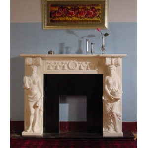 Hot sale design white marble fireplace
