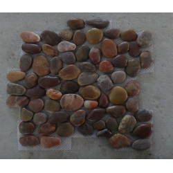 Red polished pebble tiles