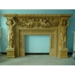 Yellow Marble Fireplace Mantel